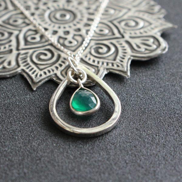 Birthstone Charm & Teardrop Shape Pendant & Chain