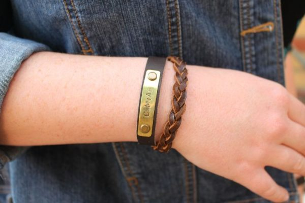 Blinkidees hand stamped brass and leather bracelet