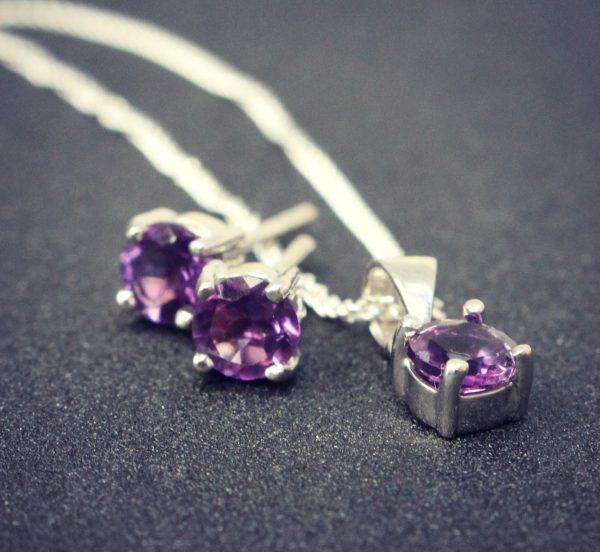 February Birthstone Studs & Necklace - Amethyst